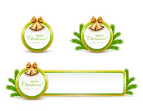 Set of Christmas banners with golden bells and bow Stock Image