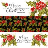 Set of christmas banners with holly branch and inscription. Vector illustration, Great design element for congratulation Stock Photo