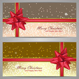 Set of christmas banners with sparks and red bow Royalty Free Stock Photos