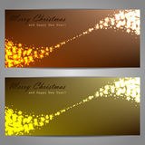 Set of Christmas banners with stars and sparks Royalty Free Stock Photos