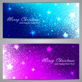 Set of Christmas banners with stars and sparks Royalty Free Stock Image