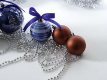 Set Christmas bauble with ribbon on white stock photos