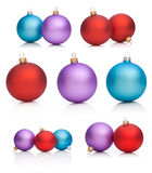 Set Christmas Baubles: Red, Purple, Blue Isolated Royalty Free Stock Image