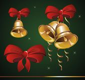 Set of christmas bells and bow Stock Photo
