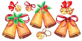 Set of Christmas bells isolated on white background vector illustration