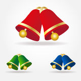 Set of  Christmas bells. Green, red and blue bells with golden elements isolated on white background Royalty Free Stock Photography