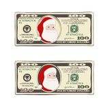 Set of Christmas bill one hundred dollars with Santa Claus. Design of 100 dollars with Santa Claus. Set of Christmas bill one hundred dollars. Template suitable Vector Illustration