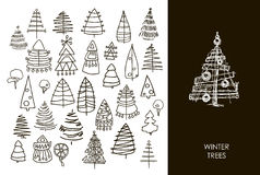 Set of Christmas black trees  on white background. Graphic design  for your design. Royalty Free Stock Image