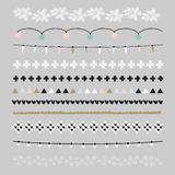 Set of Christmas borders, brushes. Party decorations with Christmas lights, knitted patterns. Isolated  objects. Set of Christmas borders and brushes. Party Stock Photos
