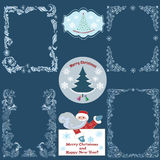 Set of Christmas borders and cards. Decorative christmas borders and cards royalty free illustration