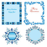 Set of Christmas borders. Decorative background with illustration of snowflakes royalty free illustration