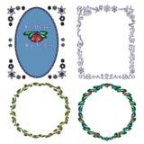 Set of Christmas borders. Set of 4 Decorative frames stock illustration