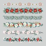 Set of Christmas borders, strings, garlands or brushes. Party decoration with fir and eucalyptus tree branches Royalty Free Stock Images
