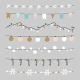 Set of Christmas borders, strings, garlands, brushes. Praty decoration with Christmas balls, baubles, lights, flags. . Set of Christmas borders, strings Royalty Free Illustration