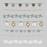 Set of Christmas borders, strings, garlands, brushes. Praty decoration with pine cones, mistletoe, Christmas balls, baubles. Set of Christmas borders, strings Vector Illustration