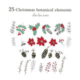 Set of 25 Christmas botanical symbols. Thin line vector icons. Xmas outline illustrations. Set of 25 Christmas color botanical symbols. Thin line vector icons Stock Images