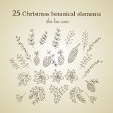 Set of 25 Christmas botanical symbols. Thin line vector icons. Xmas outline illustrations. n Stock Photos