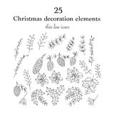 Set of 25 Christmas botanical symbols. Thin line vector icons. Xmas outline illustrations. n Royalty Free Stock Images