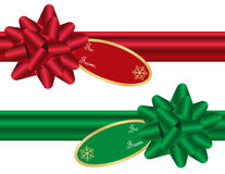 Set of Christmas Bows. With Matching Ribbons and Gift Tags Stock Photo