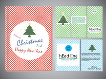 Set of Christmas brochures in vintage style ,Template of book cover for brochure,flyer,annual report .Vector design illustration e Royalty Free Stock Images