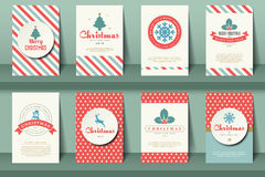 Set of  Christmas brochures in vintage style Stock Photo