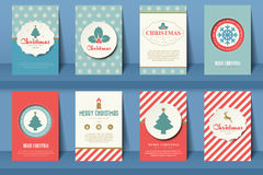 Set of  Christmas brochures in vintage style Royalty Free Stock Photo