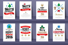 Set of  Christmas brochures in vintage style Stock Images