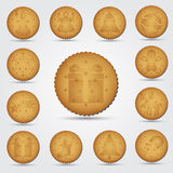 Set of christmas brown biscuit with symbols Stock Photo