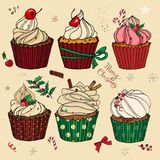 A set with Christmas cakes, sweets, buns, ornaments. For the menu. postcards, congratulations. Calligraphic inscription of a Merry Christmas. For greeting royalty free illustration