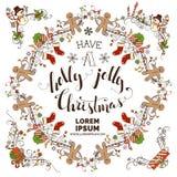 Set of Christmas calligraphic frames. Stock Photos