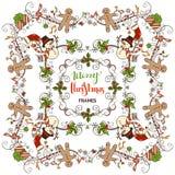 Set of Christmas calligraphic frames. Royalty Free Stock Photo