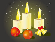 Set of Christmas candles and toys Stock Image