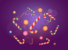 Set of Christmas candy stickers on the violet background. Vector illustration Royalty Free Stock Photos