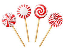 Set of christmas candy on wooden stick Stock Photos