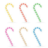 Set of Christmas canes. With striped pattern isolated on white background, illustration Stock Image