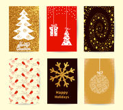 Set of Christmas card templates. Holiday backgrounds, New Year posters collection. Royalty Free Stock Photography