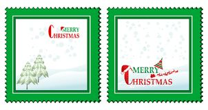 Set of 2 Christmas cards. With abstract fir trees santa and rein-deers Stock Photos