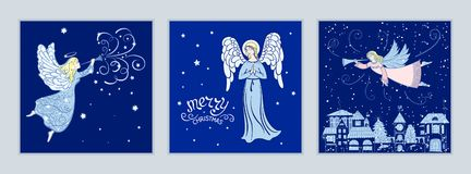 Set of Christmas cards with angels vector illustration