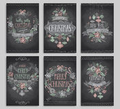 Set of Christmas cards - Chalkboard. Royalty Free Stock Photography