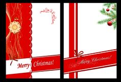 Set of 2 Christmas cards. With fir and decoration Stock Image
