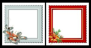 Set of 2 Christmas cards. With fir, mistletoe and decoration Royalty Free Stock Photos