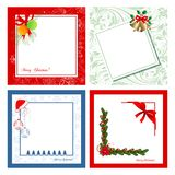 Set of Christmas cards. Set of four Christmas cards on various backgrounds Stock Photos