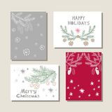 Set of christmas cards. Set of hand drawn christmas cards.Hand drawn conifers: fir, larch, juniper, pine, spruce  in vector. Unique  hand drawn christmas  design Royalty Free Stock Photos