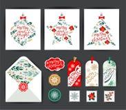 Set of Christmas Cards Stock Photos