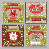 Set of christmas cards in retro style. Vector illustration Stock Photography