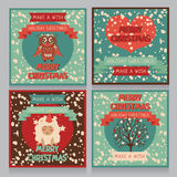 Set of christmas cards in retro style. Vector illustration Stock Image