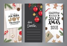 Set of Christmas cards design. Set of Christmas cards with ribbons, cookies, Christmas ornaments, pine cones and fir branches Stock Photography