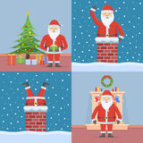 Set of Christmas cards with Santa Claus. Flat style vector illustration Stock Photo