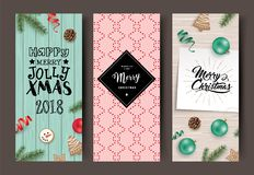 Set of Christmas cards. With ribbons, cookies, Christmas ornaments, pine cones and fir branches Stock Photos
