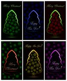 Set of Christmas cards with six abstract neon Christmas tree with snowflakes vector illustration